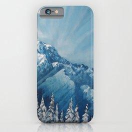 Snowy Mount Rainier, Washington, Original Modern Oil Painting, winter landscape, Lu, Luna Smith iPhone Case