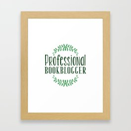 Professional Bookblogger - White w Green Framed Art Print