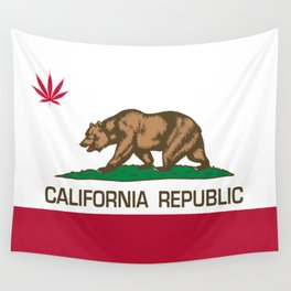 California Republic state flag with red Cannabis leaf Wall Tapestry