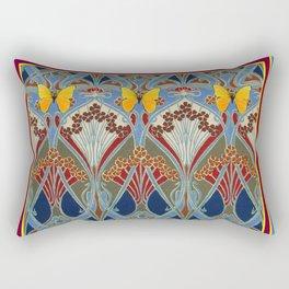 Grey-Burgundy Color & Yellow Art Nouveau Butterfly Design Rectangular Pillow