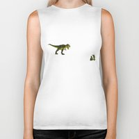 trex Biker Tanks featuring Dinosaurs vs Toy Soldiers by Andrea Vietti