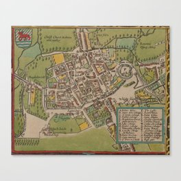 Vintge Map of Oxford England (1605) Canvas Print