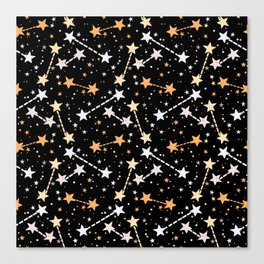 Night sky with gold silver stars Canvas Print