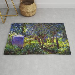 Giverny Blossoming Lilac Landscape, in Monet's Garden by Lillian Cabot Perry Rug