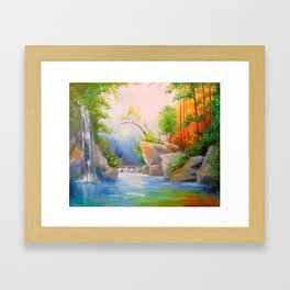 Waterfall in the woods Framed Art Print