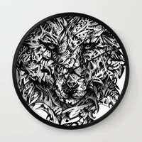 hunter Wall Clocks featuring Hunter by René Campbell