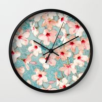 bedding Wall Clocks featuring Shabby Chic Hibiscus Patchwork Pattern in Peach & Mint by micklyn