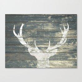Rustic White Deer Silhouette Teal Wood A311 Canvas Print