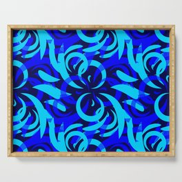 Repeating pattern of blue and azure petals of cornflowers and daisies. Serving Tray