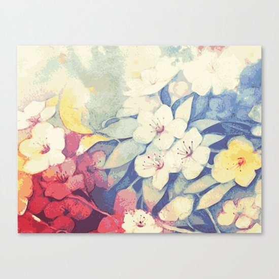 Spring flowers blue and red Canvas Print