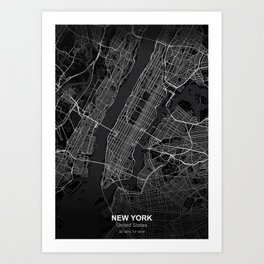 New york city map black Art Print