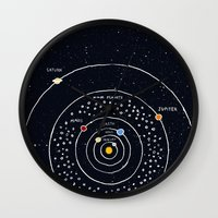 solar system Wall Clocks featuring Solar system by James White