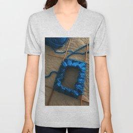 knit, knitting, royal blue, leg warmer, knitting, needles, blue, yarn, blue yarn, quilt, Unisex V-Neck