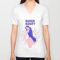 booty V-neck T-shirts featuring Super Booty by afrancesado