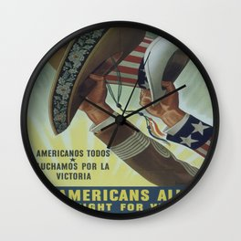 Vintage poster - Americans All Wall Clock