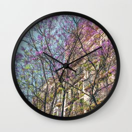 Purple Flower Trees, Tree Blossom, Barcelona City, Pink Flowers, Spring Blossom, Spring In Barcelona, Nature Back To Life Wall Clock