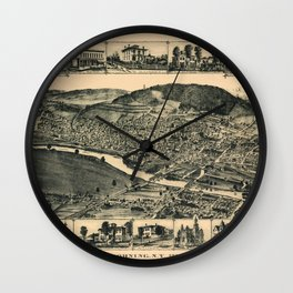 Map Of Corning 1882 Wall Clock