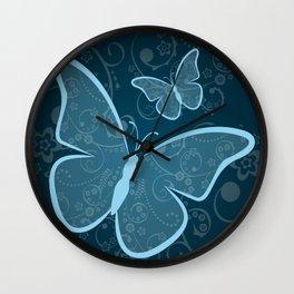 Ornamental blue butterflies background Wall Clock