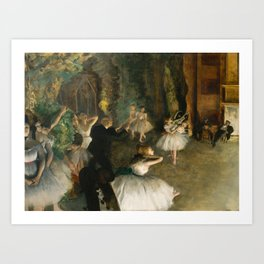 The Rehearsal of the Ballet Onstage - Degas Art Print