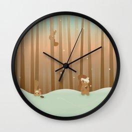 Snow Squirrels Wall Clock