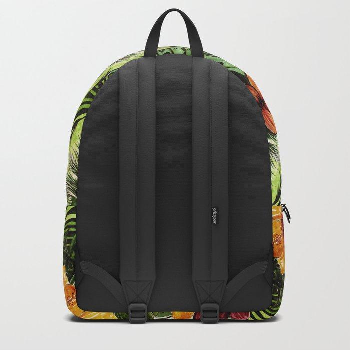 Tropical Vintage Exotic Jungle Flower Flowers - Floral watercolor pattern Backpack