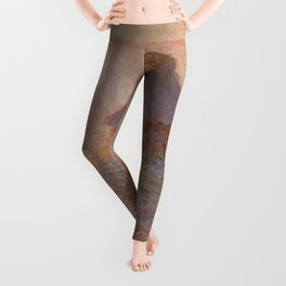 Grainstack, Sun in the Mist by Claude Monet Leggings