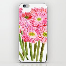 Pink Gerbera Daisy watercolor iPhone Skin