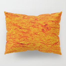 Horizontal metal texture of Iridescent highlights on orange waves. Pillow Sham