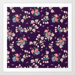 Flamingos and Magnolia Blossom Art Print