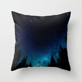 Black Trees Turquoise Milky Way Stars Throw Pillow