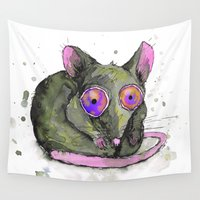 rat Wall Tapestries featuring Rat by Bwiselizzy