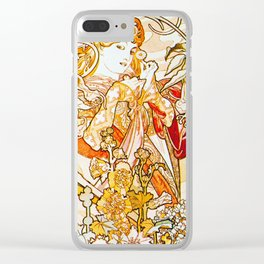 Alphonse Mucha - Woman with Daisy Clear iPhone Case