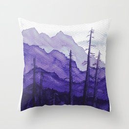 Tonal Mountain Study 2 Purple Throw Pillow