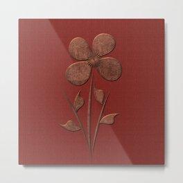 Burgundy Red Floral Pattern Metal Print