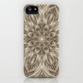 off white sepia swirl mandala iPhone Case