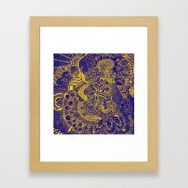 Tangled Blue and Yellow Framed Art Print