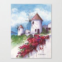Windmills of Santorini Canvas Print