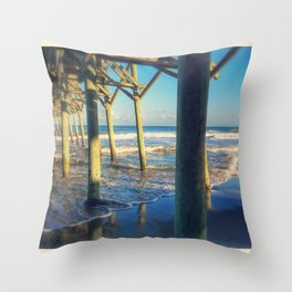 Beach Pier Throw Pillow