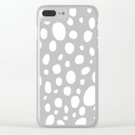 Dots grey illustrated pattern Clear iPhone Case