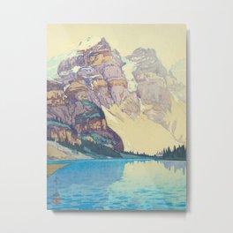 Moraine Lake (Moren) Hiroshi Yoshida Japanese Woodblock Print Metal Print