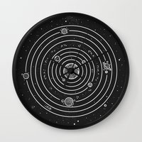 solar system Wall Clocks featuring SOLAR SYSTEM by Mírë