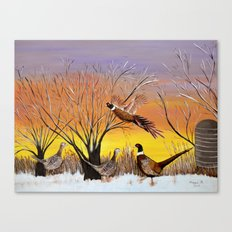 Pheasants in the sunrise Canvas Print
