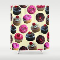 cupcakes Shower Curtains featuring Cupcakes by Tangerine-Tane