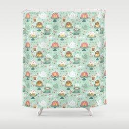 Pastel Cafe Mint Cream Shower Curtain