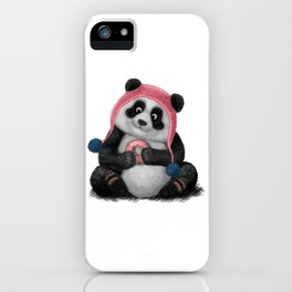 Panda eating a donut iPhone Case