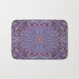 """Lavender lotus"" floral arabesque pattern Bath Mat"