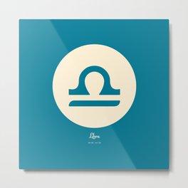 Libra Symbol Blue Metal Print