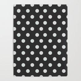 Dark Slate Grey Thalertupfen White Pōlka Large Round Dots Pattern Poster