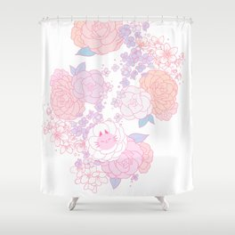 Feline Florals Shower Curtain