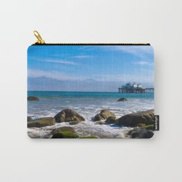 Pacific Pier | Malibu Ocean Scene Waves Tide Beach Art Print Tapestry Carry-All Pouch